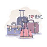 Set of old vintage bags and suitcases for travel Royalty Free Stock Photography