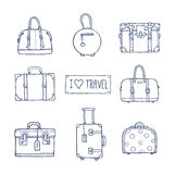 Set of old vintage bags and suitcases for travel Stock Photos