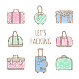 Set of old vintage bags and suitcases for travel Royalty Free Stock Image