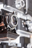 Set of old vintage cameras selective focus Royalty Free Stock Photo