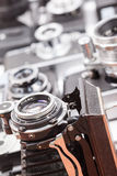 Set of old vintage cameras selective focus Royalty Free Stock Images