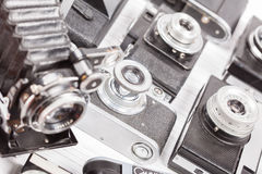 Set of old vintage cameras selective focus Royalty Free Stock Image