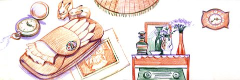 Set of old vintage furniture. sketches drawn by hand with color pencils. Set of old vintage furniture. sketches drawn by hand with ink. elegant home furnishings Stock Photos