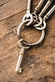 Set of old vintage keys on a ring Royalty Free Stock Image