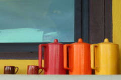 Set of old vintage pitcher at the shop Royalty Free Stock Photos