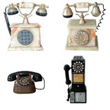 Set of old vintage public pay phone isolated Royalty Free Stock Photo