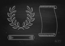 Set of old vintage ribbon banner, laurel wreath in engraving style Stock Photography