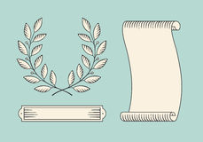 Set of old vintage ribbon banner and laurel wreath in engraving style. Hand drawn design element. Vector illustration. Royalty Free Stock Photos