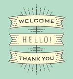 Set of old vintage ribbon banners with drawing style with word Welcome. royalty free illustration