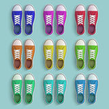 Set of old vintage sneakers. Vector image royalty free illustration