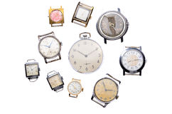 Set of old watches isolated on white background Stock Photography
