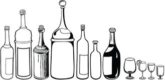Set of old wine bottles and wineglass Stock Photo