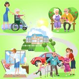 Set of old women and men spending time in nursing home. Cheerful people with volunteer girls helping them vector illustration. Outdoor fun for old grandparents royalty free illustration