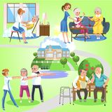 Set of old women and men spending time in nursing home. Cheerful people with volunteer girls helping them vector illustration. Outdoor fun for old grandparents stock illustration