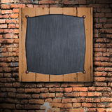 Set 8. old wood frame on brick wall. 3d illustration background Royalty Free Stock Photography