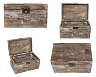 Set of old wooden chests are isolated on white Stock Photos