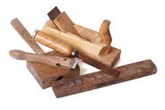 Set of old wooden hand tools isolated Stock Photo