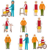 Set of Older People Disabled. Elderly People in Different Situations with Caregivers Royalty Free Stock Image