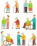 Set of older people in flat style Stock Image