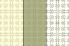 Set of  olive green floral backgrounds. Seamless patterns Royalty Free Stock Image