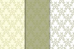 Set of  olive green floral backgrounds. Seamless patterns Royalty Free Stock Images