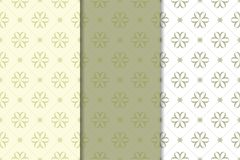 Set of  olive green floral backgrounds. Seamless patterns Stock Photos