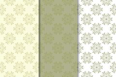 Set of  olive green floral backgrounds. Seamless patterns. Olive green floral backgrounds. Set of seamless patterns for textile and wallpapers Stock Photos