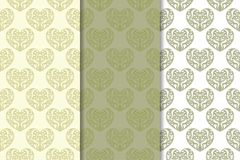 Set of olive hearts as seamless pattern. Romantic backgrounds. Vector illustration royalty free illustration
