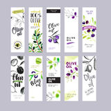 Set of olive oil labels. Ready to use hand drawn watercolor vector illustrations for olive oil packaging royalty free illustration
