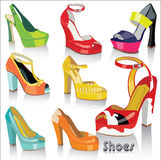 Set of olorful fashion females shoes and sandals. Stock Photography