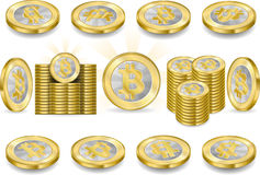 Set of One Bitcoins Isolated on White Royalty Free Stock Photography