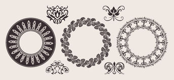 Set Of One Color Circle Lace Border Ornaments. Stock Image