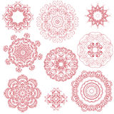 Set of one color round ornaments Royalty Free Stock Image