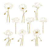 Set of one-colored outlined poppy Royalty Free Stock Images