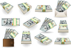 Set of One Hundred Dollars Banknotes. Detailed illustration of a Set of One Hundred Dollars Banknotes in various positions Stock Photography