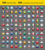 Set of one hundred emoticons with international flags - vector illustration Stock Image