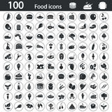 Set of one hundred food icons Royalty Free Stock Photo