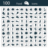 Set of one hundred food icons Royalty Free Stock Image