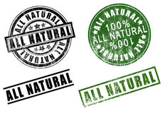 Set of 100 one hundred % percent All-Natural rubber stamps Royalty Free Stock Image