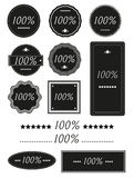 Set of One Hundred Percent Badges,Label. Isolated On White -100 Royalty Free Stock Photo