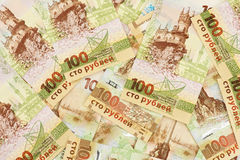 Set of one hundred Russian rubles banknotes with Crimea symbolics. Stock Images