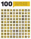 Set of One Hundred Seamless Ethnic Geometric Retro Patterns in Black White and Yellow Colors. Abstract Background royalty free illustration
