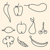 Set of one line fruits and vegetables Royalty Free Stock Image