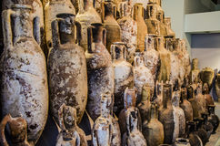 Set one of Roman amphoras rescued in the Aeolian Islands stock images
