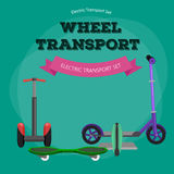 Set of one-wheeled and two-wheeled Self-balancing electric scooter vector illustrations Stock Images