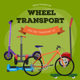 Set of one-wheeled and two-wheeled Self-balancing electric scooter vector illustrations Stock Photo