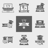 Set of online education logos, labels, signs or badges templates with laptop, book, globe Stock Photos