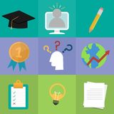 Set of online education. Study and learning concept icon. Vector stock illustration