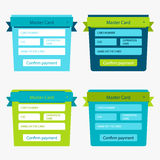 Set of online payment forms Stock Photo