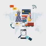 Set of online shopping. Stock Image